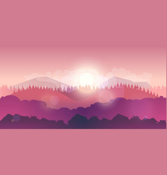 Mountains and forest landscape early on the vector