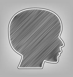 People head sign pencil sketch imitation vector