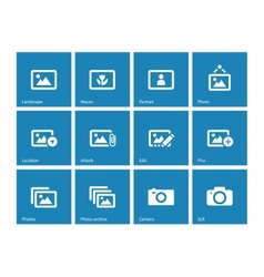 Photographs and Camera icons on blue background vector image vector image