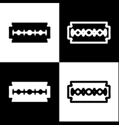 Razor blade sign black and white icons vector