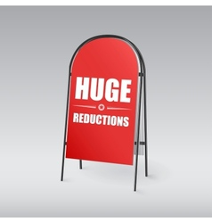 Sandwich board with an inscription huge reductions vector