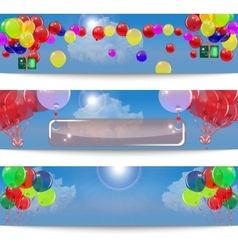Set of banners with balloons vector image
