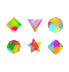 Set of colored geometric polygonal shapes vector image