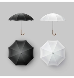 Set of white black rain umbrella parasol sunshade vector