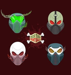 set paintball evil mask skull Mortal paintball vector image vector image