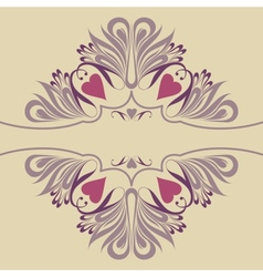 Soft ornate background with hearts vector