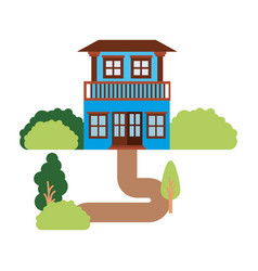 White background with natural landscape house with vector