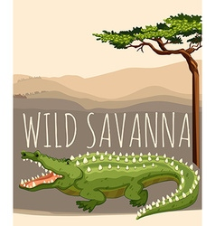 Wild savanna with tree and crocodile vector