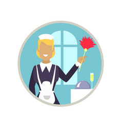 Woman housekeeper icon vector