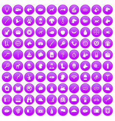 100 dog icons set purple vector