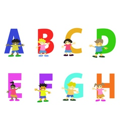 Happy kids cartoon alphabet collection vector
