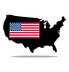 Map of the united states with flag vector