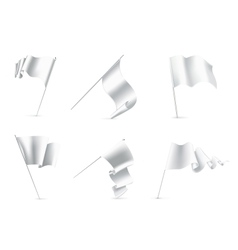 White flags set vector