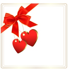 Valentine background with red gift bow and two vector