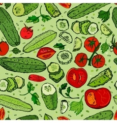 Cucumber Tomato Pattern 01 A vector image