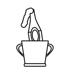 Champagne bucket bottle ice design outline vector