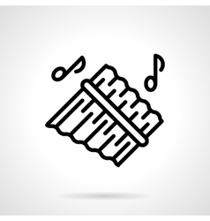 Pan flute simple black line icon vector image