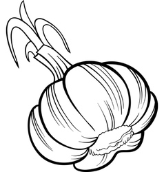 Garlic vegetable cartoon for coloring book vector