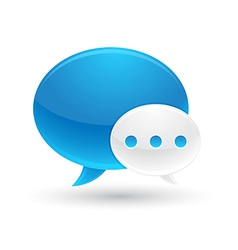 Blue and white speech bubbles icon vector
