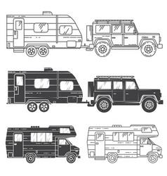 Set of camper vans icons vector