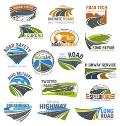 Road highway and freeway isolated symbol set vector