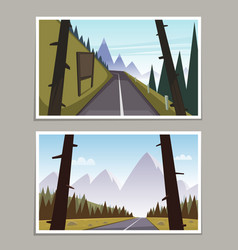 Mountain asphalt road posters vector