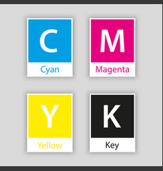 Separate swatch in cmyk color with color name vector
