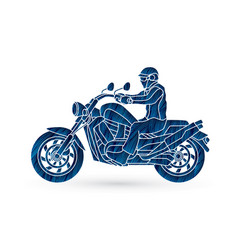 a man riding motorbike graphic vector image