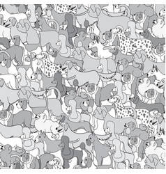 cute seamless pattern with cartoon different dogs vector image