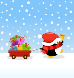 Penguin delivering christmas gifts vector