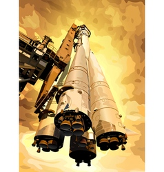 Rocket on hot planet vector