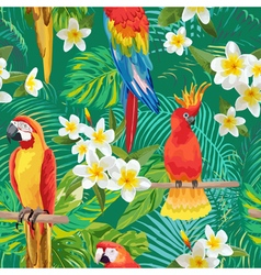 Tropical Flowers and Birds Background vector image