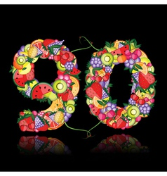 number ninety made from fruits vector image