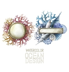 Watercolor metal plates with ocean design vector
