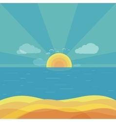 Travel beach sunrise design flat vector
