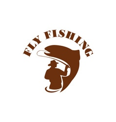 Trout fly fishing isolated retro vector