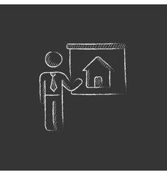 Real estate agent showing house drawn in chalk vector