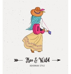 Bohemian fashion girl  boho style vector