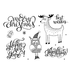 Black and white christmas collection set of vector