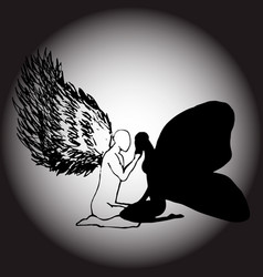 an image of an angel and a moth simolizes support vector image