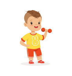 Boy exercising with dumbbell kid doing sports vector