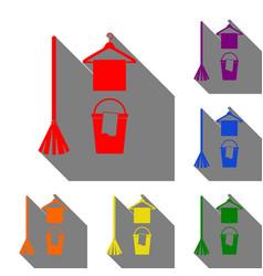 Broom bucket and hanger sign set of red orange vector