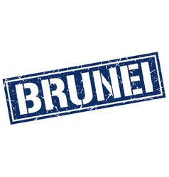 Brunei blue square stamp vector