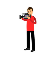 Cameraman character looking through a professional vector