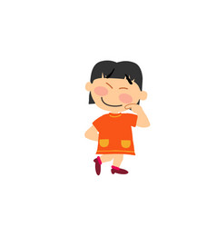 Cartoon character of a shy asian girl vector