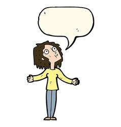 Cartoon curious woman looking upwards with speech vector