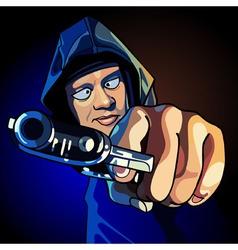 Cartoon guy a gun aiming at close range vector