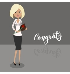 Cartoon secretary blonde female character vector