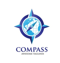 compass and globelogo vector image vector image