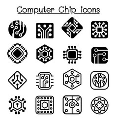 Computer chips and electronic circuit icons vector
